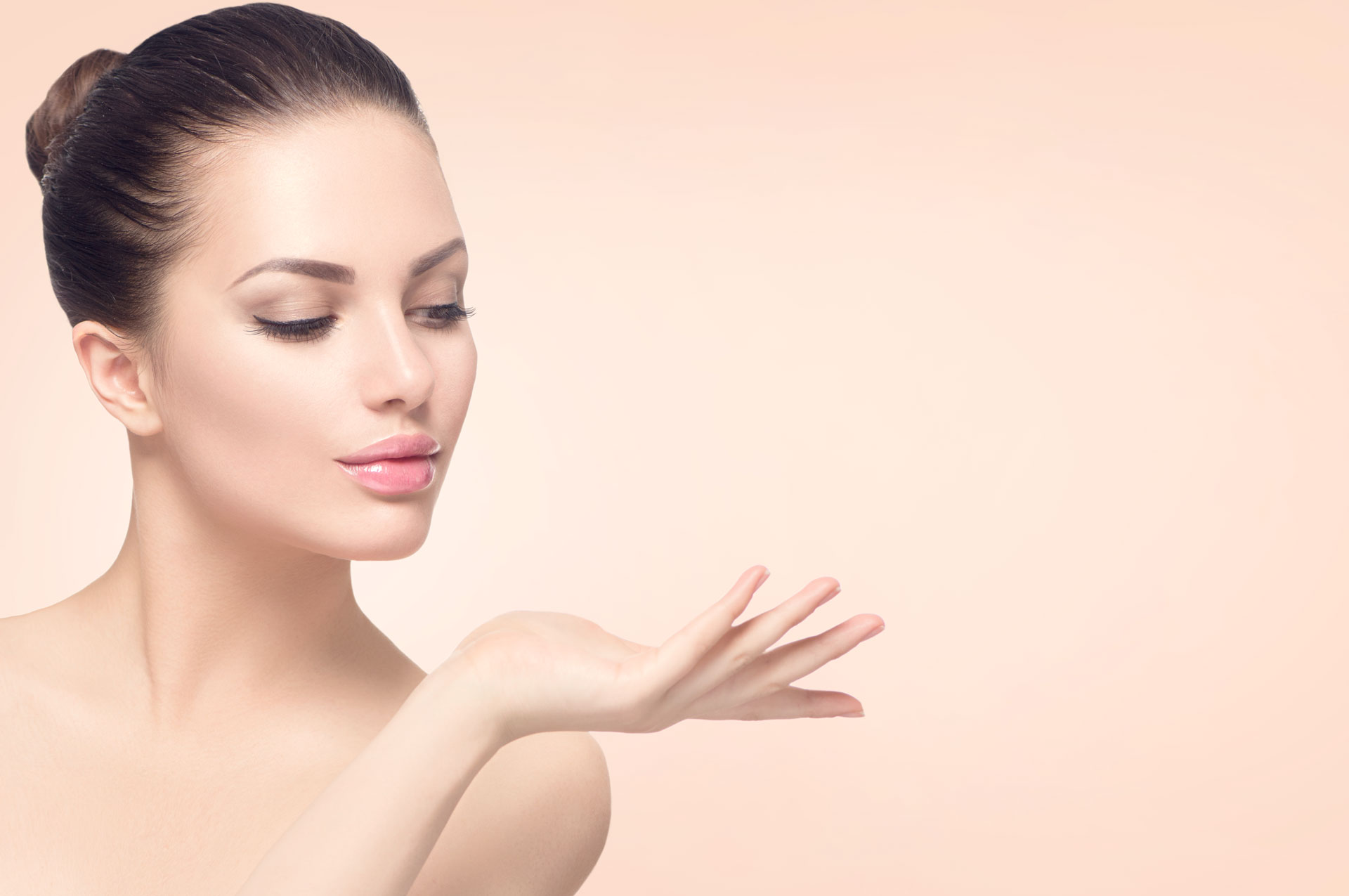 Woman Inviting with peach background